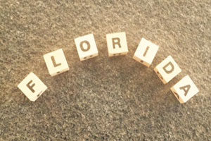 Name Florida mit Buchstaben gelegt