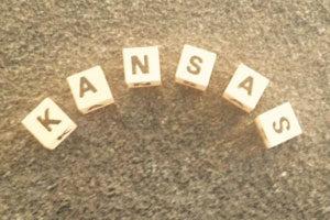 Name Kansas in Buchstaben gelegt