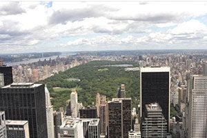 viele Hochhäuser, Blick auf den Central Park in New York