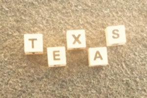 Name Texas mit Buchstaben gelegt