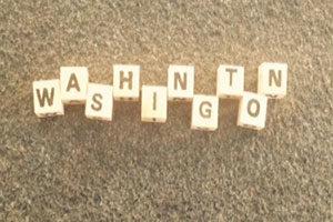 Name Washington mit Buchstaben gelegt